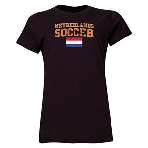 Netherlands Women's Soccer T-Shirt (Black)