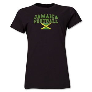 Jamaica Women's Football T-Shirt (Black)
