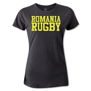 Romania Women's Supporter Rugby T-Shirt (Dark Gray)