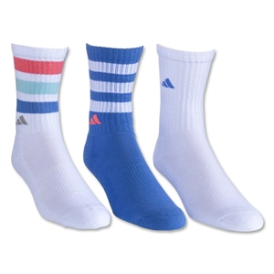 adidas Women's 3-Pack Retro Crew Sock (White/Blue)