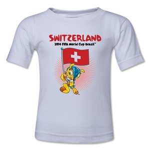 Switzerland 2014 FIFA World Cup Brazil(TM) Kids Mascot Flag T-Shirt (White)