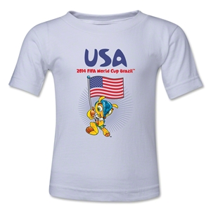 USA 2014 FIFA World Cup Brazil(TM) Kids Mascot Flag T-Shirt (White)