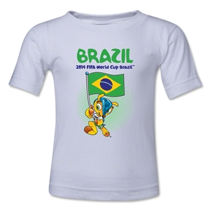 Brazil 2014 FIFA World Cup Brazil(TM) Toddler Mascot Flag T-Shirt (White)