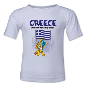 Greece 2014 FIFA World Cup Brazil(TM) Toddler Mascot Flag T-Shirt (White)