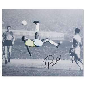 Icons Pele Signed The Bicycle Kick Photo