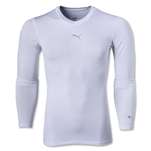 PUMA Lite Long Sleeve V-Neck T-Shirt (White)