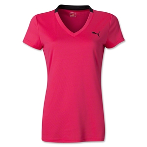 PUMA Women's V-Neck Training T-Shirt (Pink)
