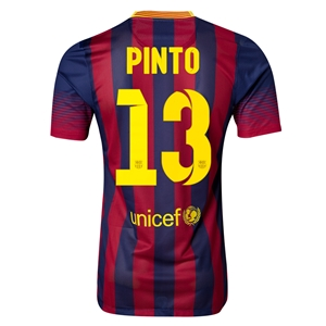 Barcelona 13/14 PINTO Authentic Home Soccer Jersey