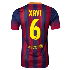 Barcelona 13/14 XAVI Authentic Home Soccer Jersey