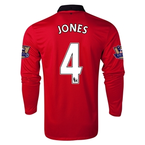 Manchester United 13/14 JONES LS Home Soccer Jersey