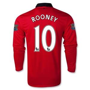 Manchester United 13/14 ROONEY LS Home Soccer Jersey
