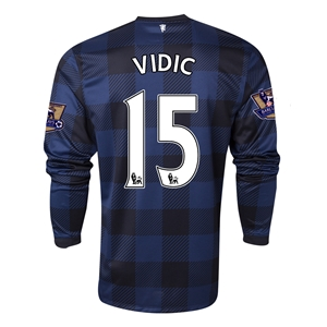 Manchester United 13/14 VIDIC LS Away Soccer Jersey