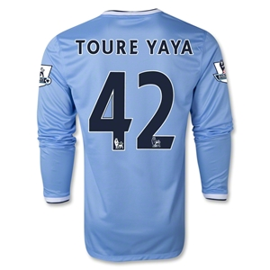 Manchester City 13/14 TOURE YAYA LS Home Soccer Jersey