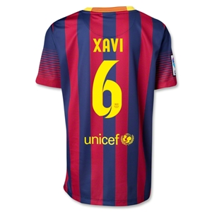 Barcelona 13/14 XAVI Youth Home Soccer Jersey