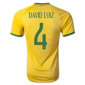 Brazil 14/15 DAVID LUIZ Authentic Home Soccer Jersey