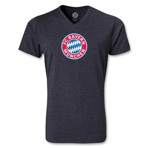 Bayern Munich Logo V-Neck T-Shirt (Heather Gray)