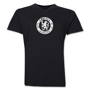 Chelsea Distressed Emblem V-Neck T-Shirt (Black)