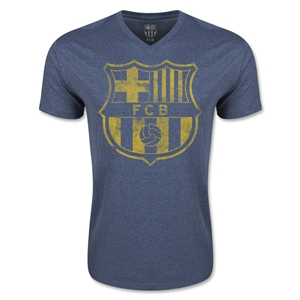 Barcelona Vintage Crest V-Neck T-Shirt (Heather Navy)