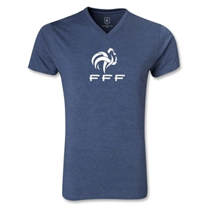 France FFF Men's V-Neck T-Shirt (Heather Navy)