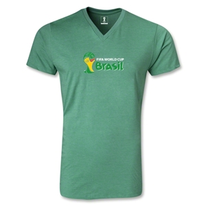 2014 FIFA World Cup Brazil(TM) Landscape Emblem V-Neck T-Shirt (Heather Green)