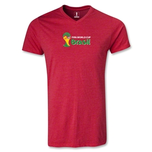 2014 FIFA World Cup Brazil(TM) Landscape Emblem V-Neck T-Shirt (Heather Red)