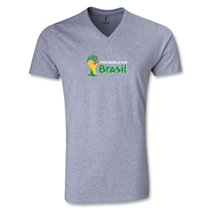 2014 FIFA World Cup Brazil(TM) Landscape Emblem V-Neck T-Shirt (Gray)