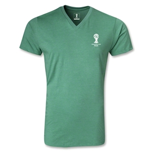 2014 FIFA World Cup Brazil(TM) Event Emblem V-Neck T-Shirt (Heather Green)