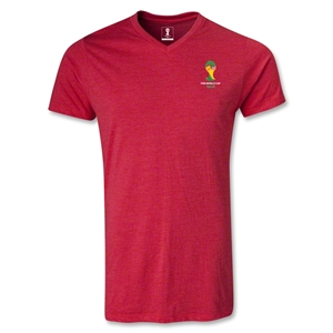 2014 FIFA World Cup Brazil(TM) Event Emblem V-Neck T-Shirt (Heather Red)