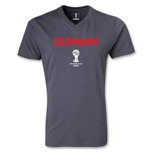 Germany 2014 FIFA World Cup Brazil(TM) Men's Core V-Neck T-Shirt (Dark Grey)