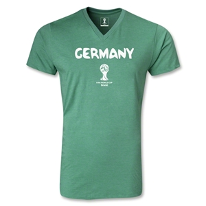 Germany 2014 FIFA World Cup Brazil(TM) Men's Core V-Neck T-Shirt (Heather Green)