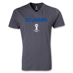 Ecuador 2014 FIFA World Cup Brazil(TM) Men's Core V-Neck T-Shirt (Dark Grey)