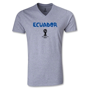 Ecuador 2014 FIFA World Cup Brazil(TM) Men's Core V-Neck T-Shirt (Grey)