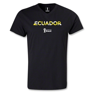 Ecuador 2014 FIFA World Cup Brazil(TM) Men's Palm V-Neck T-Shirt (Black)