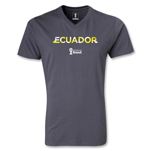 Ecuador 2014 FIFA World Cup Brazil(TM) Men's Palm V-Neck T-Shirt (Dark Grey)