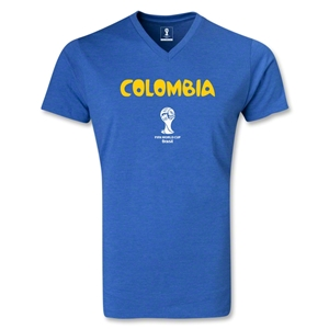 Colombia 2014 FIFA World Cup Brazil(TM) Men's Core V-Neck T-Shirt (Heather Royal)