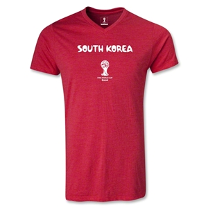South Korea 2014 FIFA World Cup Brazil Men's Core V-Neck T-Shirt (Heather Red)