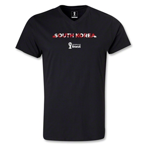 South Korea 2014 FIFA World Cup Brazil Men's Palm V-Neck T-Shirt (Black)