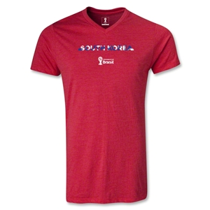 South Korea 2014 FIFA World Cup Brazil Men's Palm V-Neck T-Shirt (Heather Red)