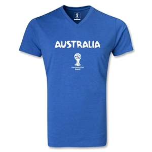 Australia 2014 FIFA World Cup Brazil Men's Core V-Neck T-Shirt (Heather Royal)