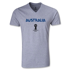 Australia 2014 FIFA World Cup Brazil Men's Core V-Neck T-Shirt (Gray)