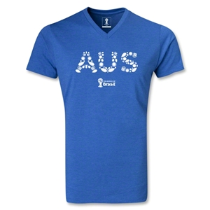 Australia 2014 FIFA World Cup Brazil Men's Elements V-Neck T-Shirt (Heather Royal)