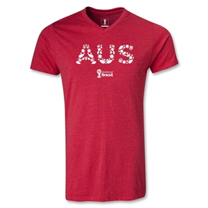 Australia 2014 FIFA World Cup Brazil Men's Elements V-Neck T-Shirt (Heather Red)