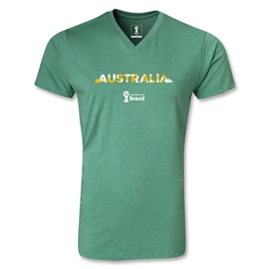 Australia 2014 FIFA World Cup Brazil Men's Palm V-Neck T-Shirt (Heather Green)