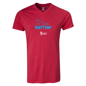 2014 FIFA World Cup Brazil(TM) All In One Rhythm V-Neck T-Shirt (Heather Red)