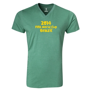 2014 FIFA World Cup Brazil(TM) Logotype V-Neck T-Shirt (Heather Green)