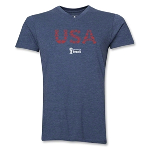 USA 2014 FIFA World Cup Brazil(TM) Men's Elements V-Neck T-Shirt (Heather Navy)