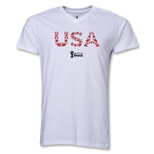 USA 2014 FIFA World Cup Brazil(TM) Men's Elements V-Neck T-Shirt (White)