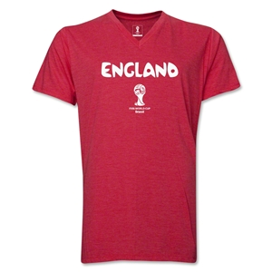 England 2014 FIFA World Cup Brazil(TM) Men's Core V-Neck Core T-Shirt (Heather Red)