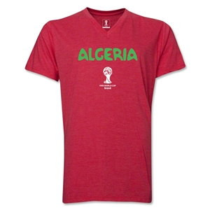 Algeria 2014 FIFA World Cup Brazil(TM) Men's Core V-Neck Core T-Shirt (Heather Red)