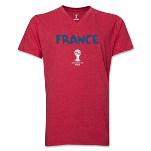 France 2014 FIFA World Cup Brazil(TM) Men's Core V-Neck Core T-Shirt (Heather Red)